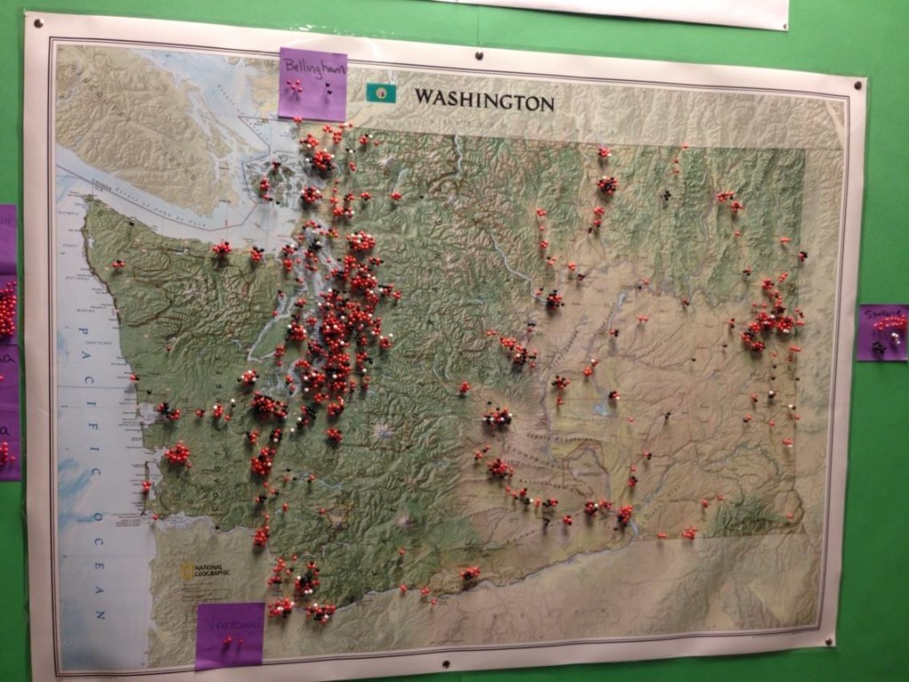 Map of producer and processor applicant locations in Washington State, hanging in the Washington State Liquor Control Board Offices in Olympia, Washington.