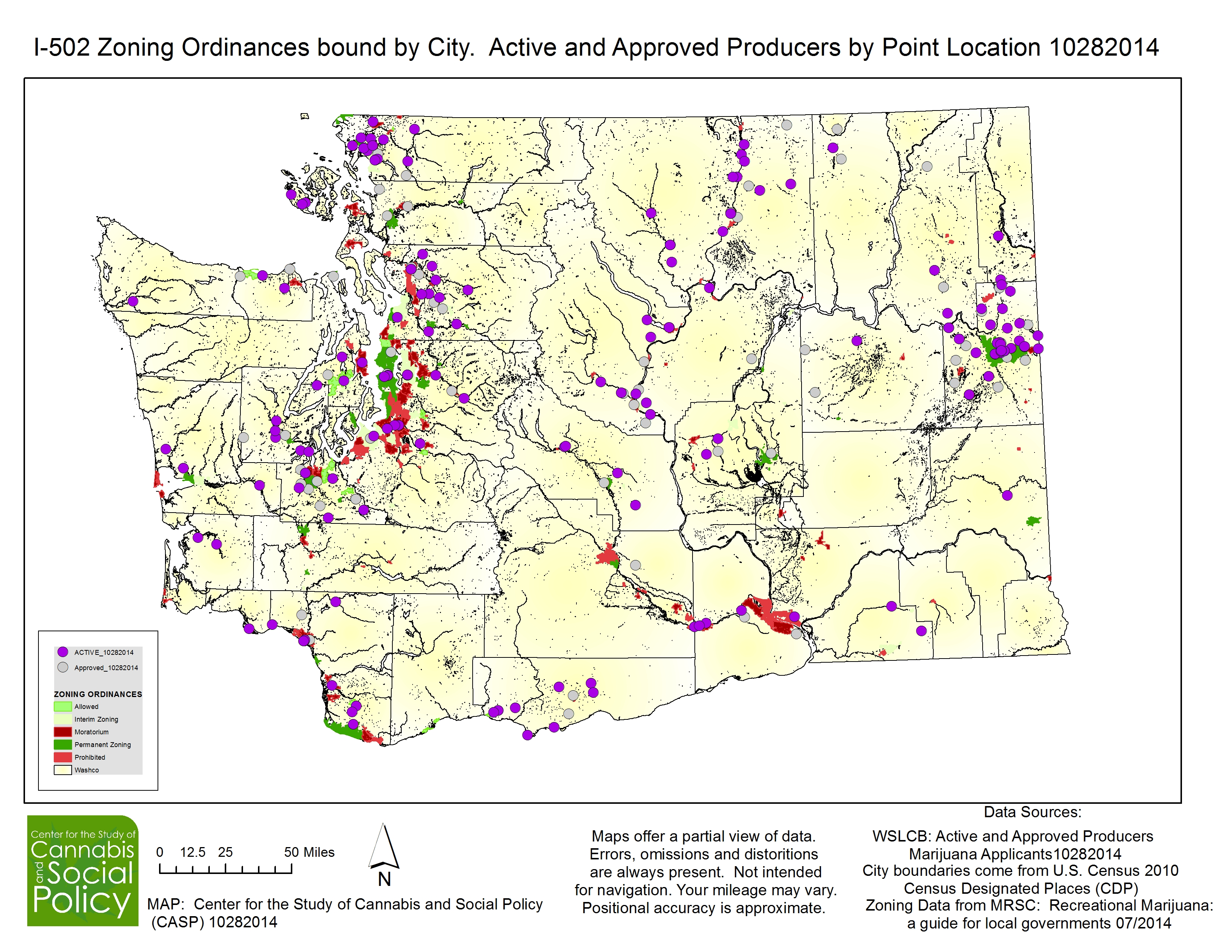 I-502 Zoning Ordinances bound by City.  Active and Approved Producers by Point Location 10282014
