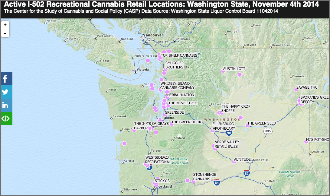 Interactive Map I 502 Recreational Cannabis Retail Locations