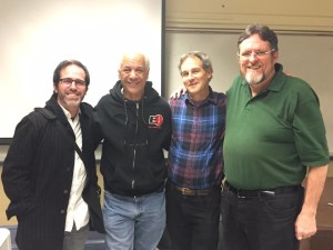 Martin Lee of Project CBD is third to the right; co-collaborator Jerry Whiting of LeBlanc CNE second to the right; and medical cannabis documentarian Michael Scott is fourth to the right. This picture was taken after Martin's guest lecture to Dr. Corva's Cannabis, Law and Social Change class Winter 2016.