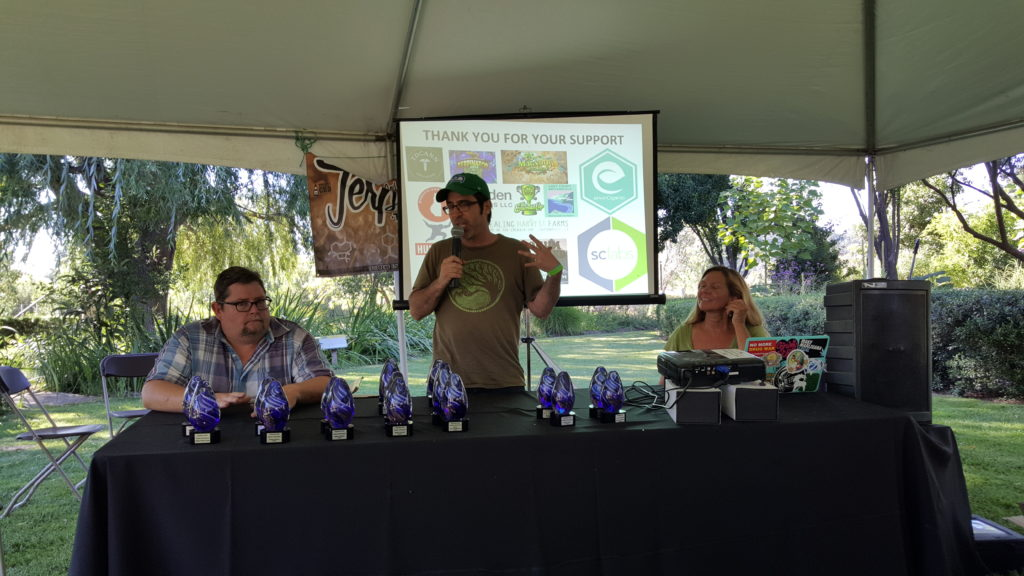 Rick Pfrommer, Dominic Corva and Michelle Sexton lead the Terpene Tournament award ceremony at the 2nd annual Terpestival on July 23, 2016.
